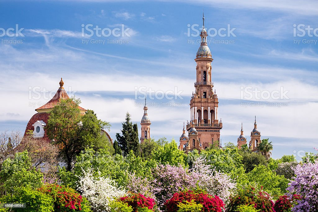 Towers of Plaza de Espana. Seville. Spain. stock photo