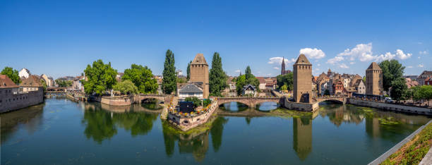 Towers of Ponts Couverts in Strasbourg - foto stock