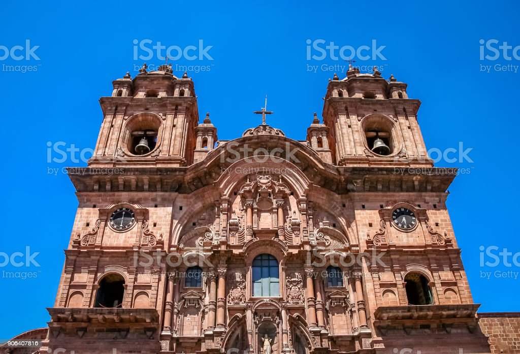 Towers of the Cathedral of Santo Domingo in Cusco stock photo