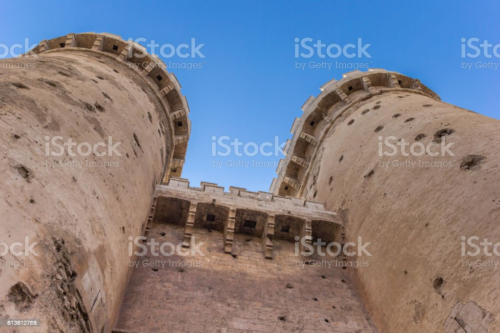 Towers Of The Old City Gate Torres De Quart In Valencia Spain Stock