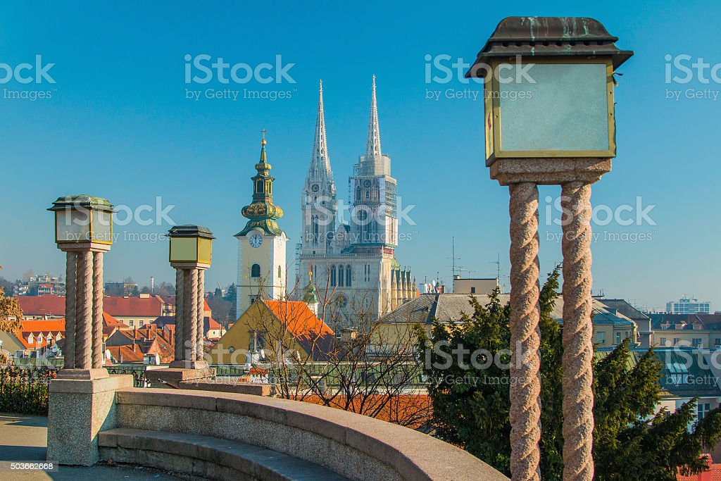 Towers of Zagreb cathedral and lanterns on Upper town stock photo