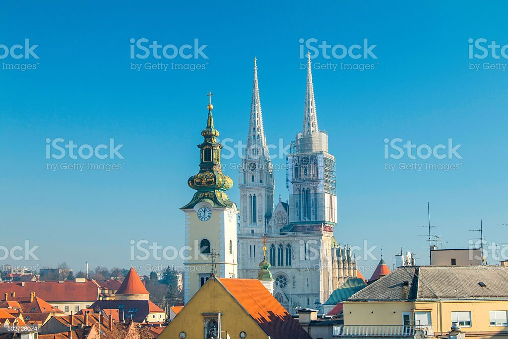 Towers of Zagreb cathedral from Upper town stock photo