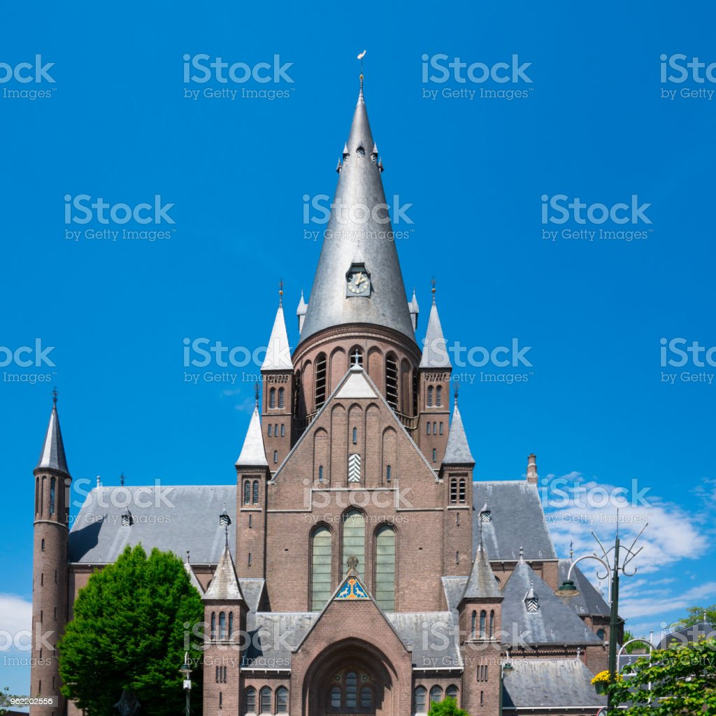 towers sint Gummarus Church, Steenbergen, The Netherlands stock photo