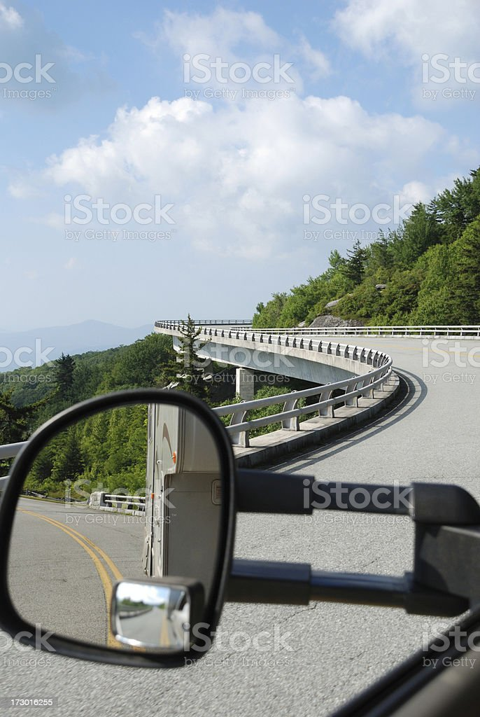 Towing an RV in the Mountains stock photo