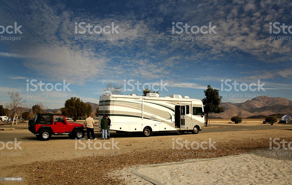 RV towing for camping royalty-free stock photo