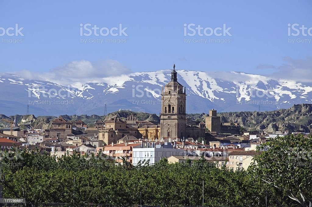 Town and Cathedral, Guadix, Spain. stock photo