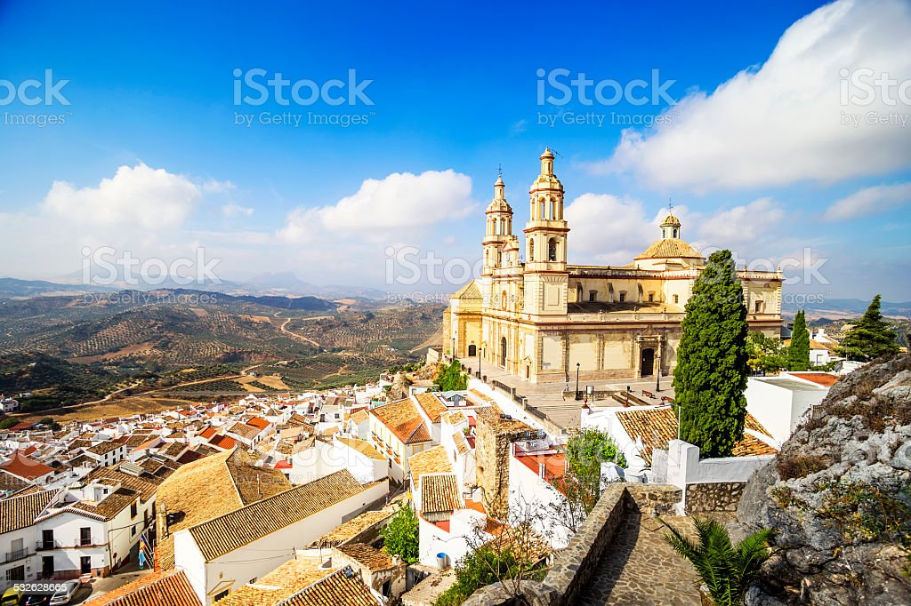 Town and Church Olvera, Cadiz Province, Andalusia, Spain. stock photo
