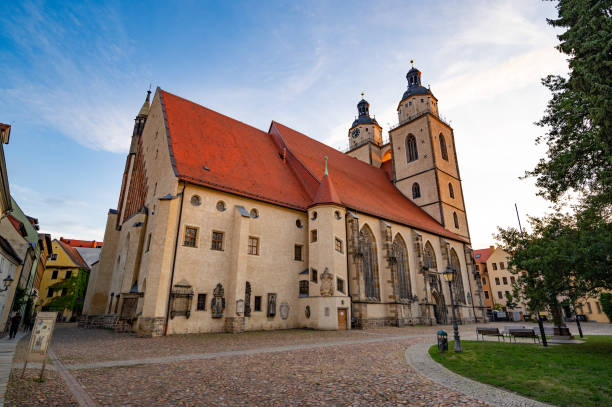 (Town and Parish Church of St. Mary's in Lutherstadt Wittenberg stock photo