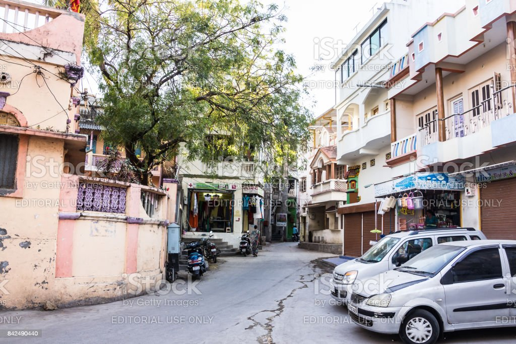 Town and streets of Diu stock photo