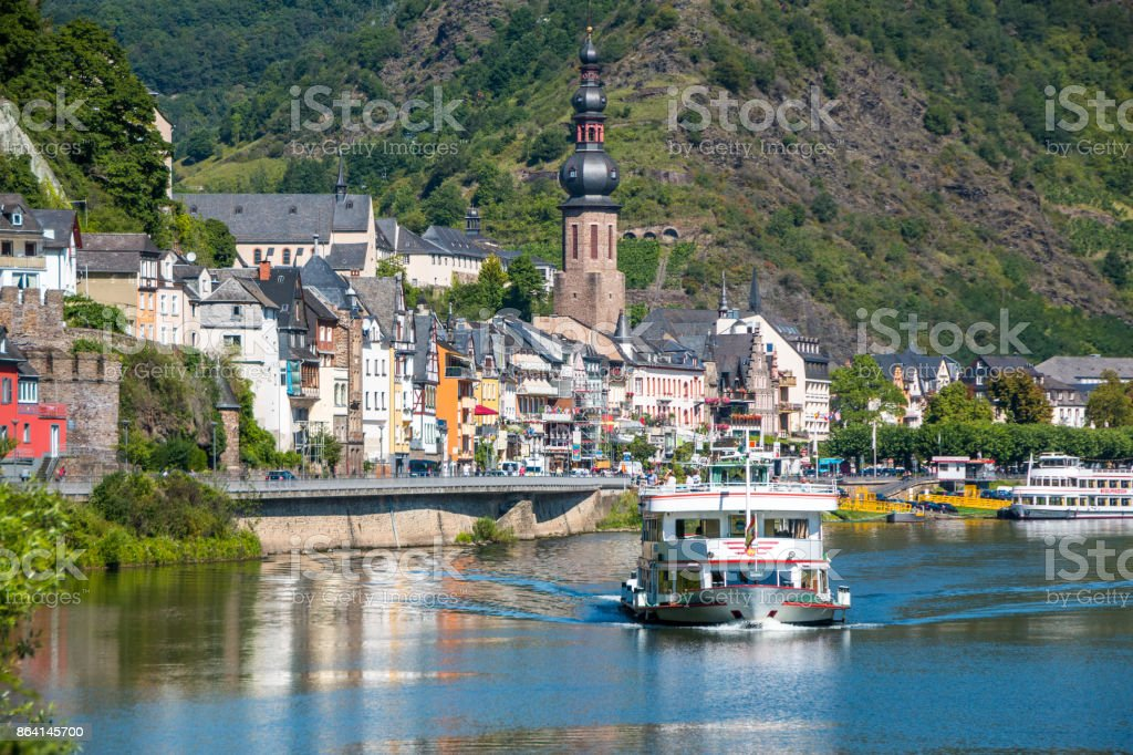Town at the river with ship royalty-free stock photo