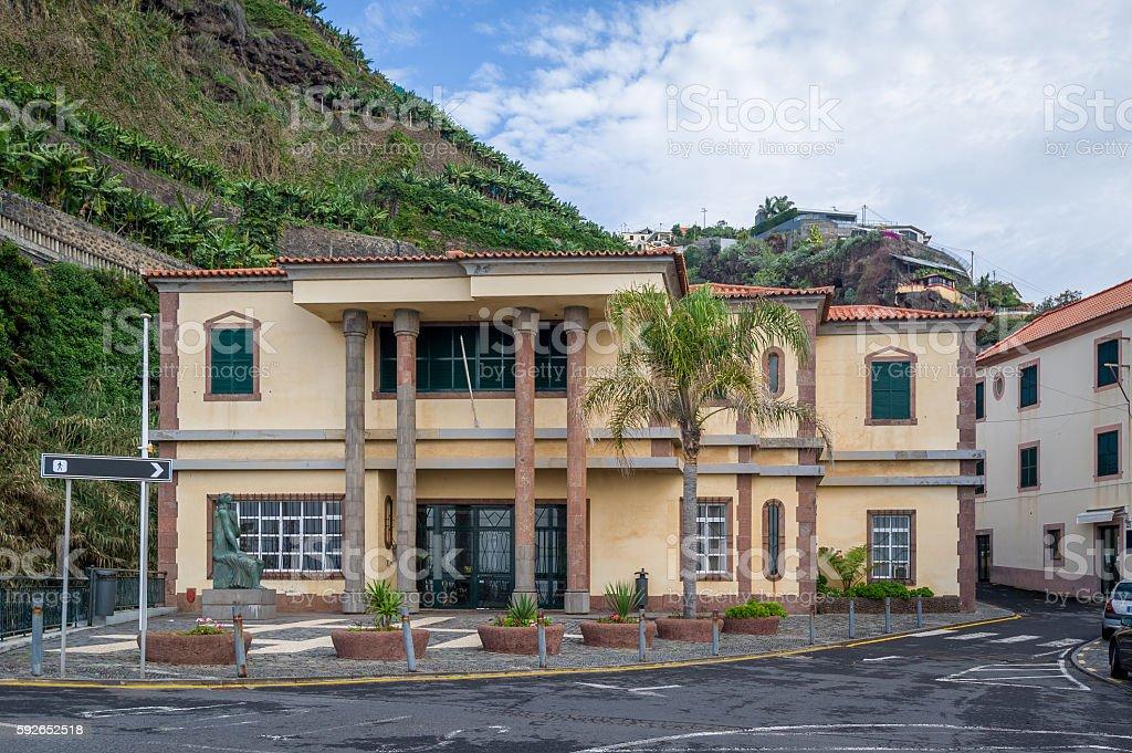 Town center of Ponta do Sol, Madeira. stock photo