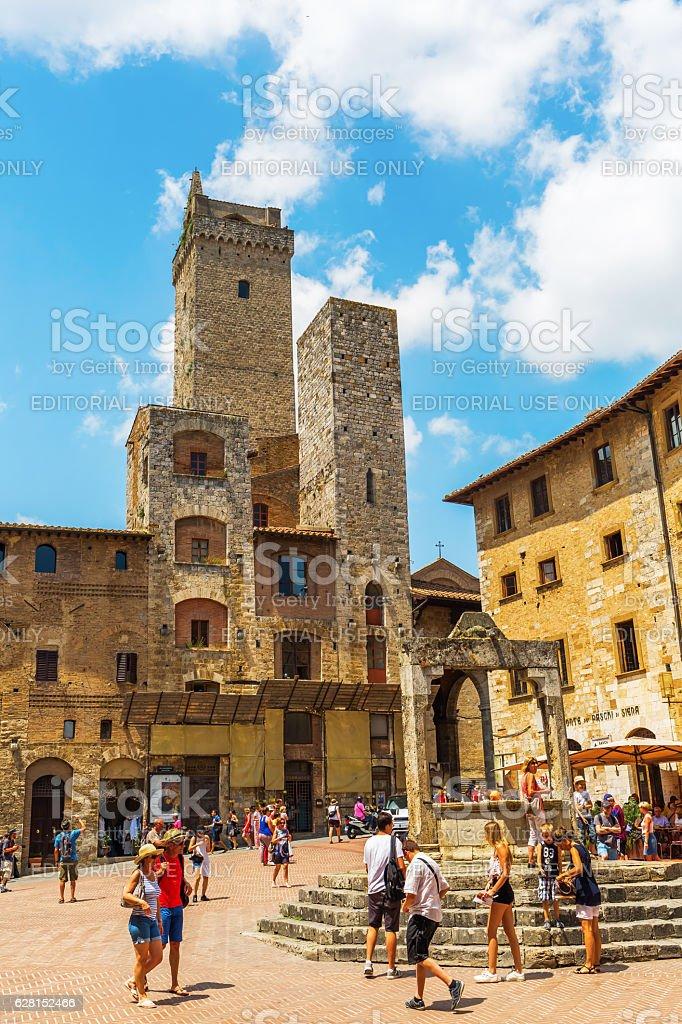 town center of San Gimignano, Tuscany, Italy stock photo