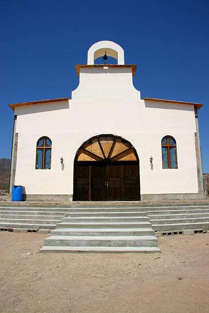town church, bahia de los angelos stock photo