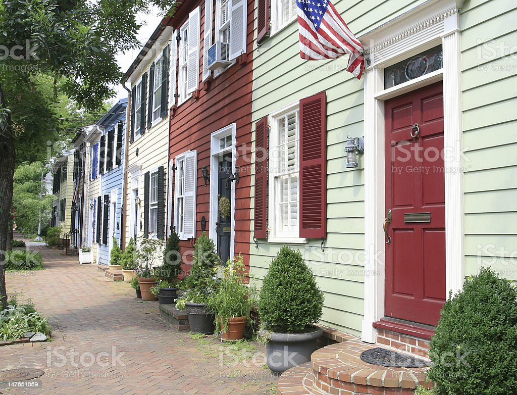 Town, City Street with Homes stock photo