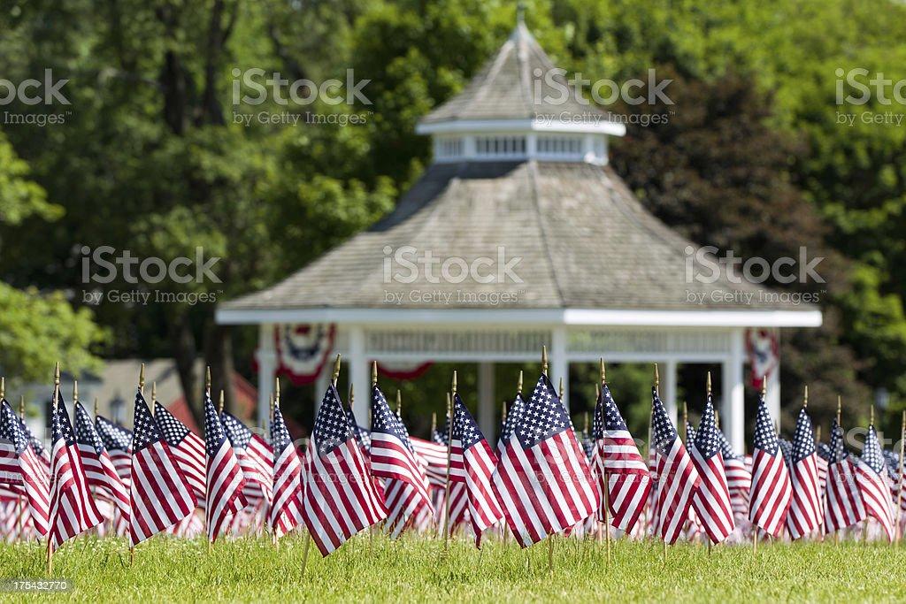Town Common White Gazebo American Flags royalty-free stock photo