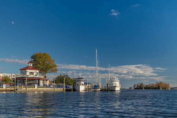Town Dock with Octagon and Clouds stock photo
