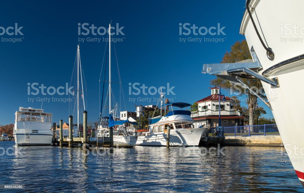 Town Docks with Octagon on the Riverfront stock photo