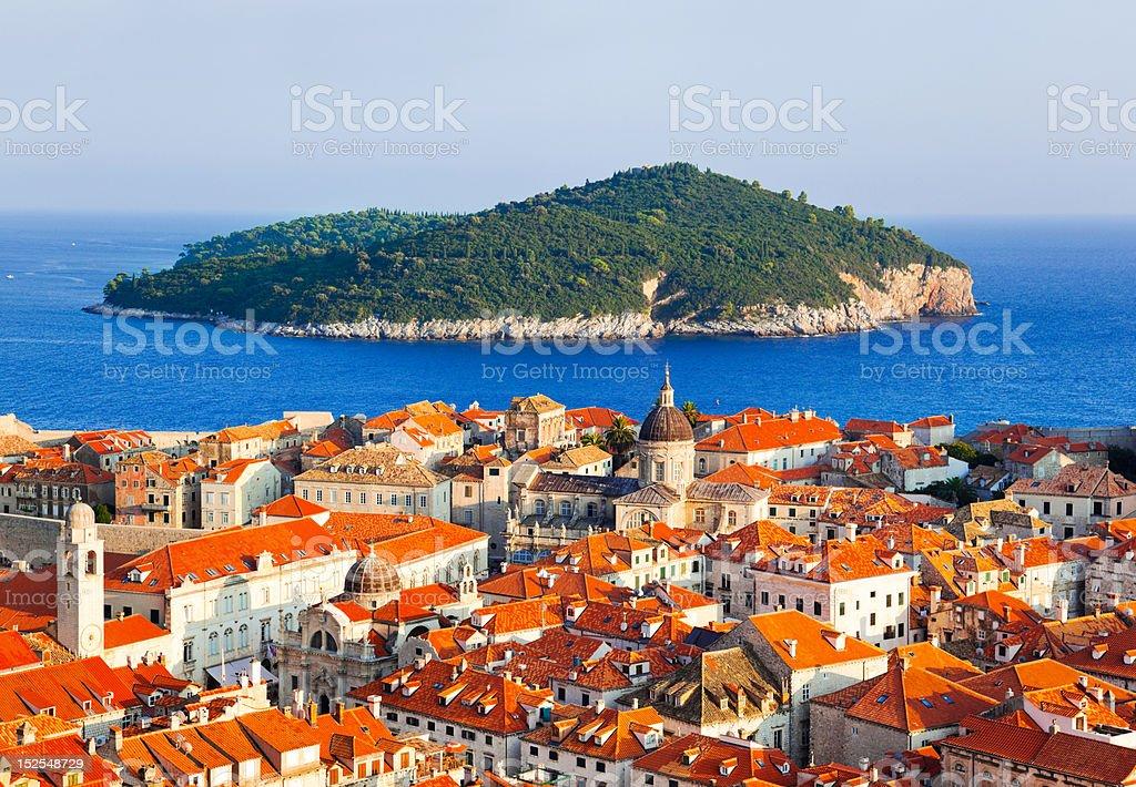 Town Dubrovnik and island in Croatia stock photo