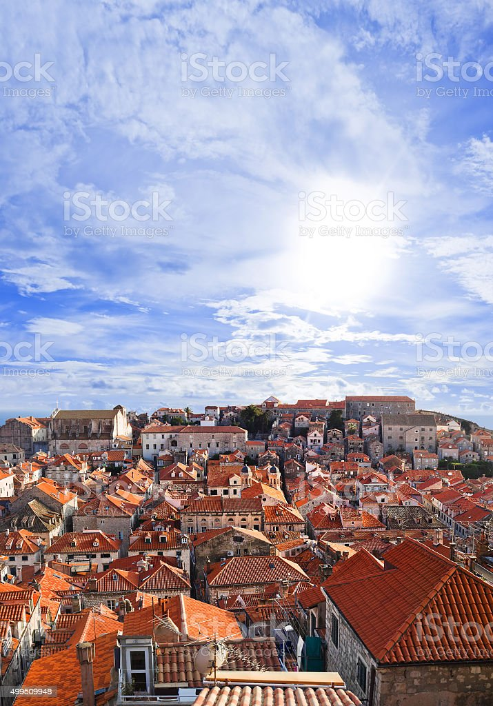 Town Dubrovnik in Croatia at sunset stock photo