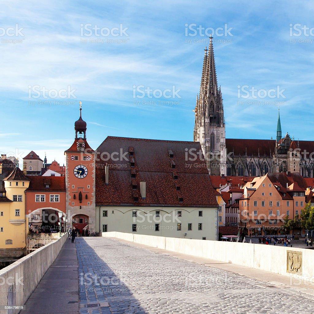 Town Gate in Regensburg stock photo