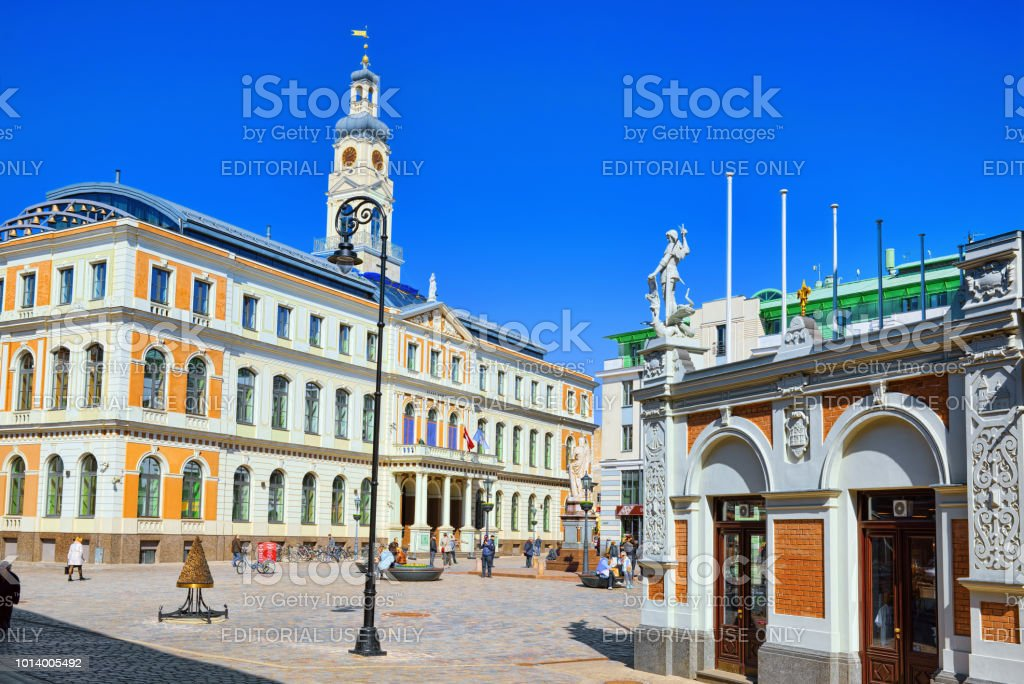 Town Hall (Riga) - a building that served as the residence of the Riga City Government (Riga City Council). stock photo