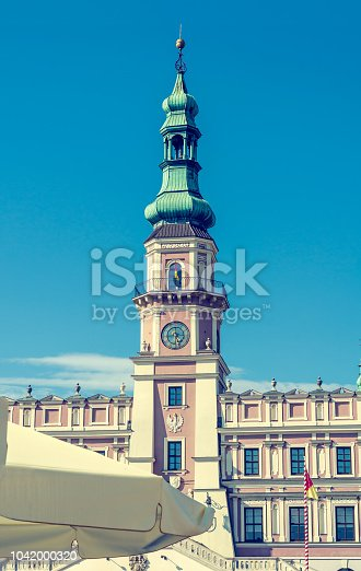 Town Hall, an old medieval building in the city of Zamosc.