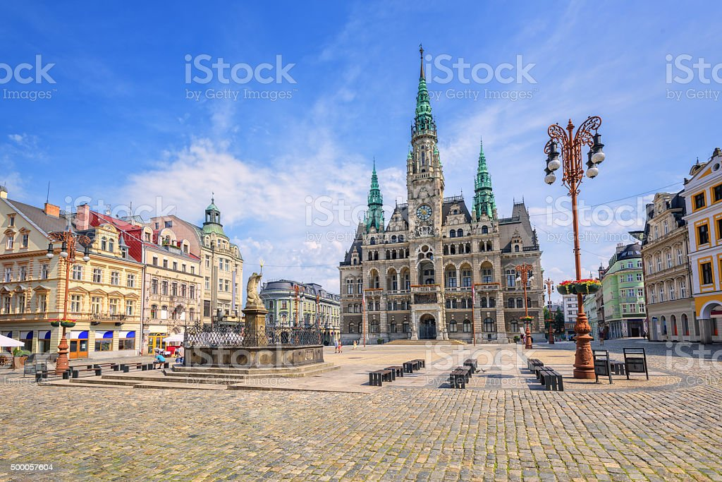 Town hall and central square in Liberec, Czech Republic stock photo
