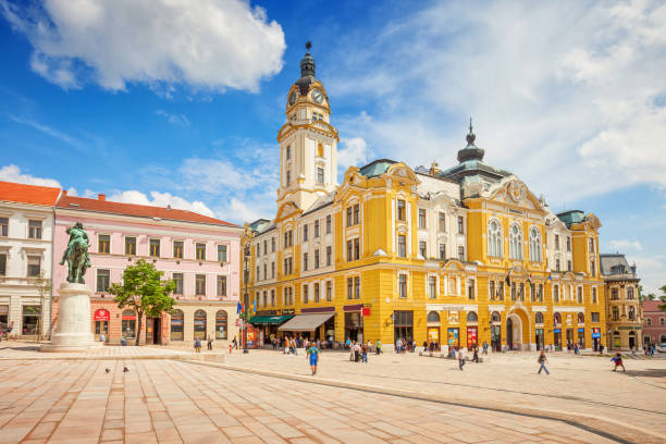 Town Hall and downtown Pecs Hungary stock photo