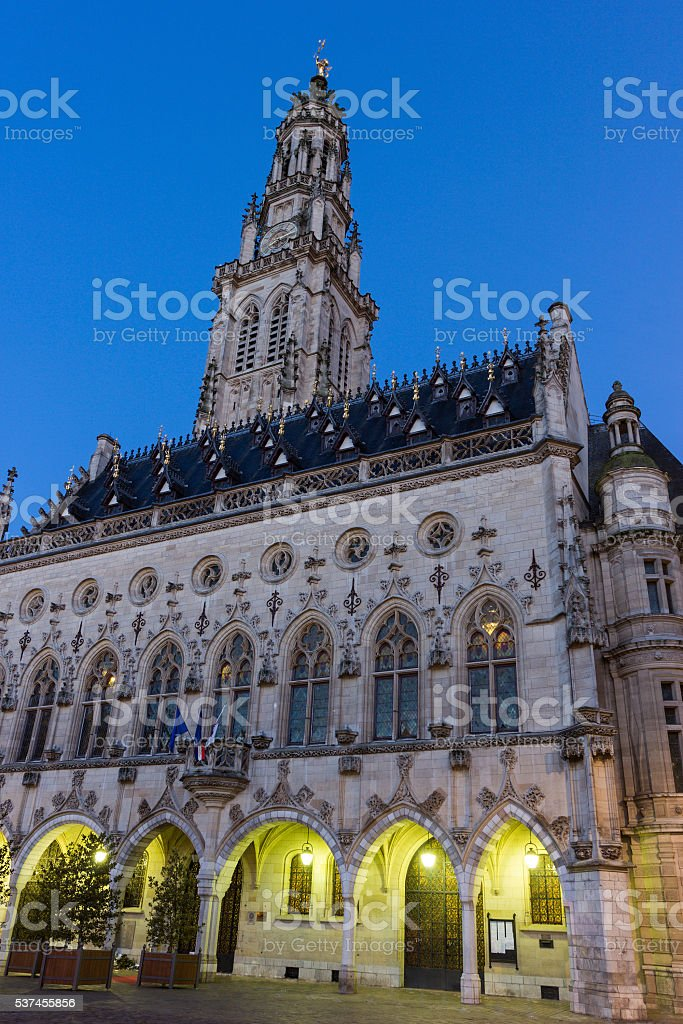 Town Hall and its Belfry in Arras in France stock photo