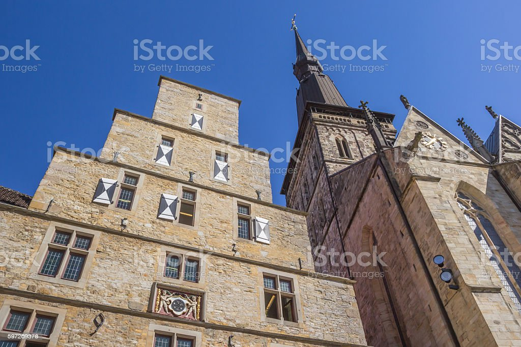Town hall and St. Marien church in Osnabruck stock photo