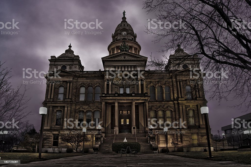town hall at dusk royalty-free stock photo
