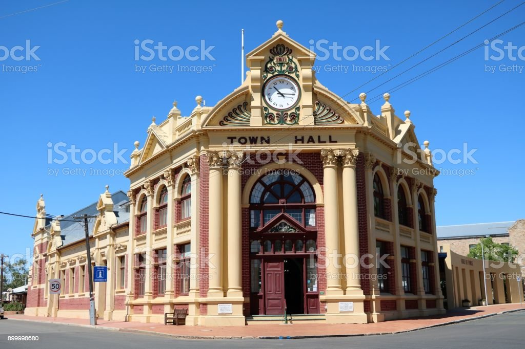 Town hall at main street in York, Western Australia stock photo