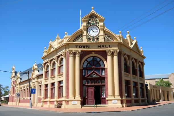 Town hall at main street in York, Western Australia Town hall at main street in York, Western Australia local government building stock pictures, royalty-free photos & images
