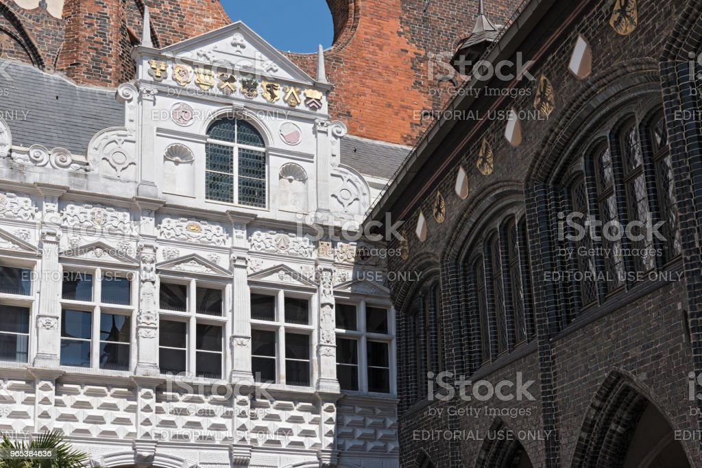 town hall at the markttwiete in lubeck, germany royalty-free stock photo