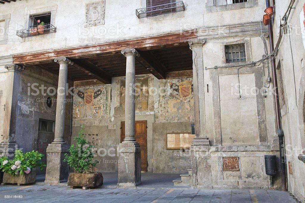 Town hall building. Bagnaia. Lazio. Italy. stock photo