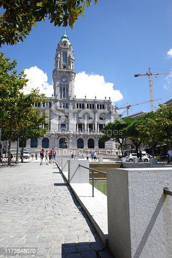 Porto, Portugal - June 10, 2019: Town Hall building (Camara Municipal do Porto) on Liberdade Square, Porto, Portugal