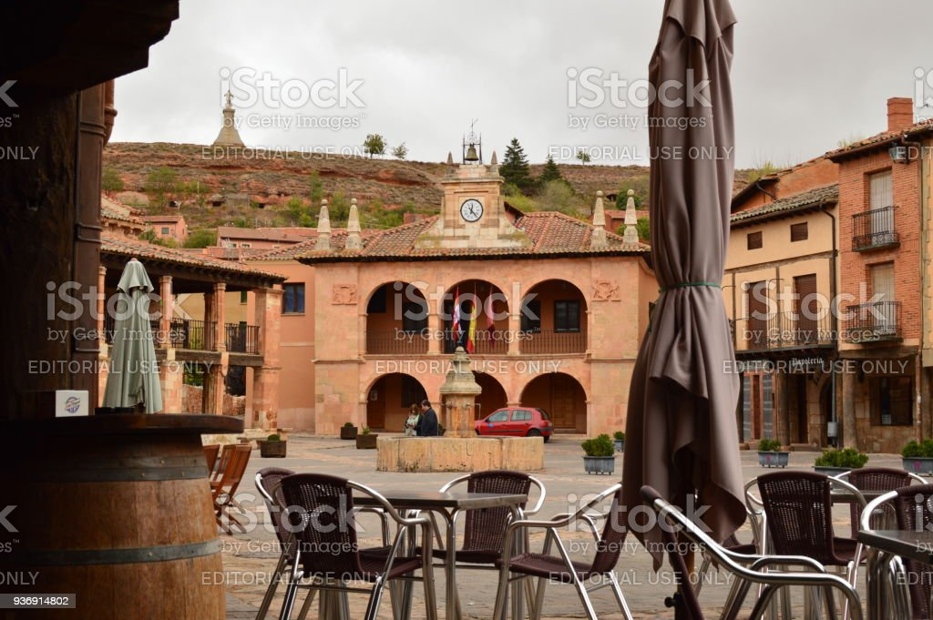 Town Hall Building In Town Square Ayllon Cradle Of Red Villages In addition To Beautiful Medieval Village In Segovia. Architecture Landscapes Travel Rural Environment. stock photo