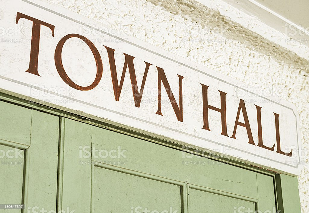 Town Hall Entrance Sign stock photo