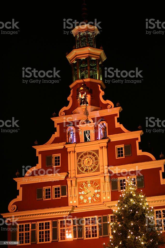 Town hall Esslingen Christmas Market stock photo