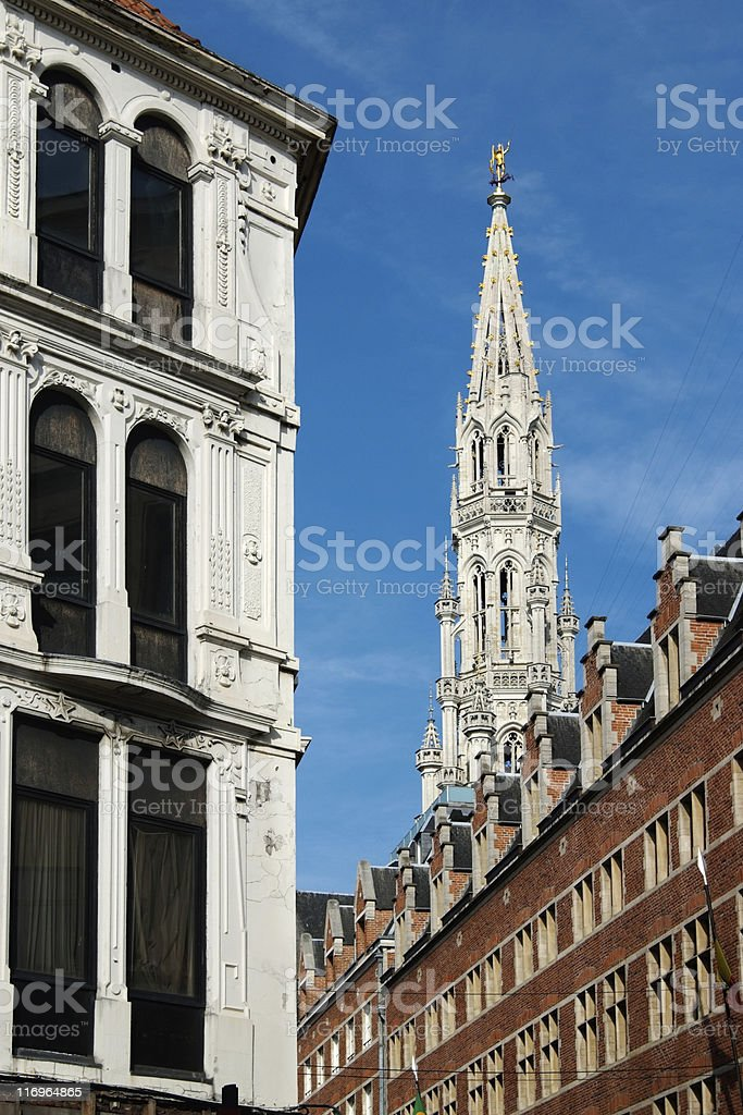 Town Hall  gothic tower in Brussels (Belgium) royalty-free stock photo