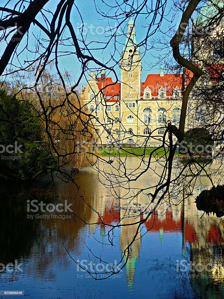 Town Hall (Rathaus) in Hannover, Germany. stock photo