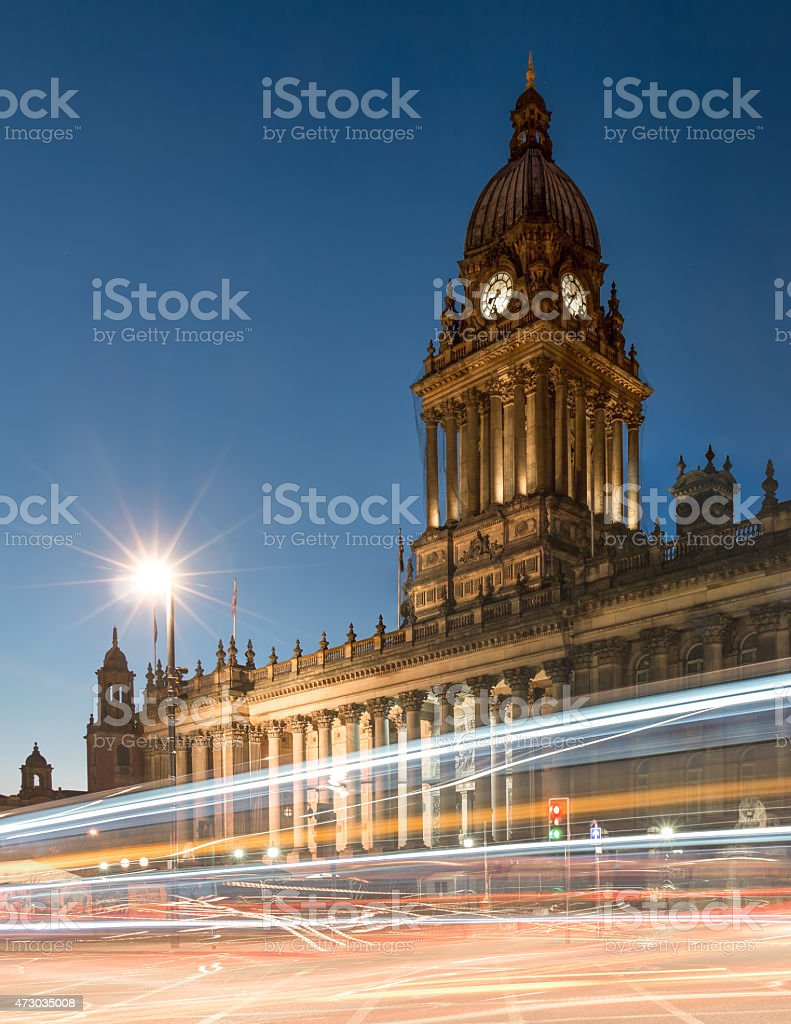 Town Hall in Leeds, West Yorkshire, UK (Twilight Shot) stock photo