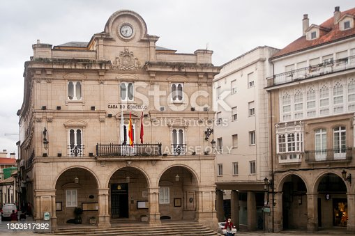 Ourense, Spain- september 24, 2020: Town hall in Ourense city, town square in old town, Galicia, Spain.