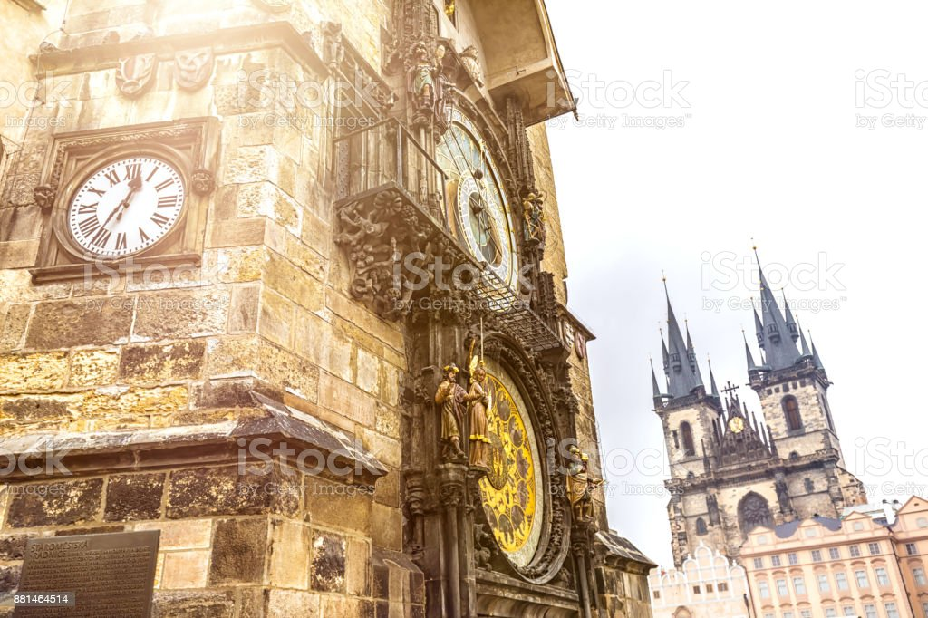 Town Hall in Prague with clock stock photo
