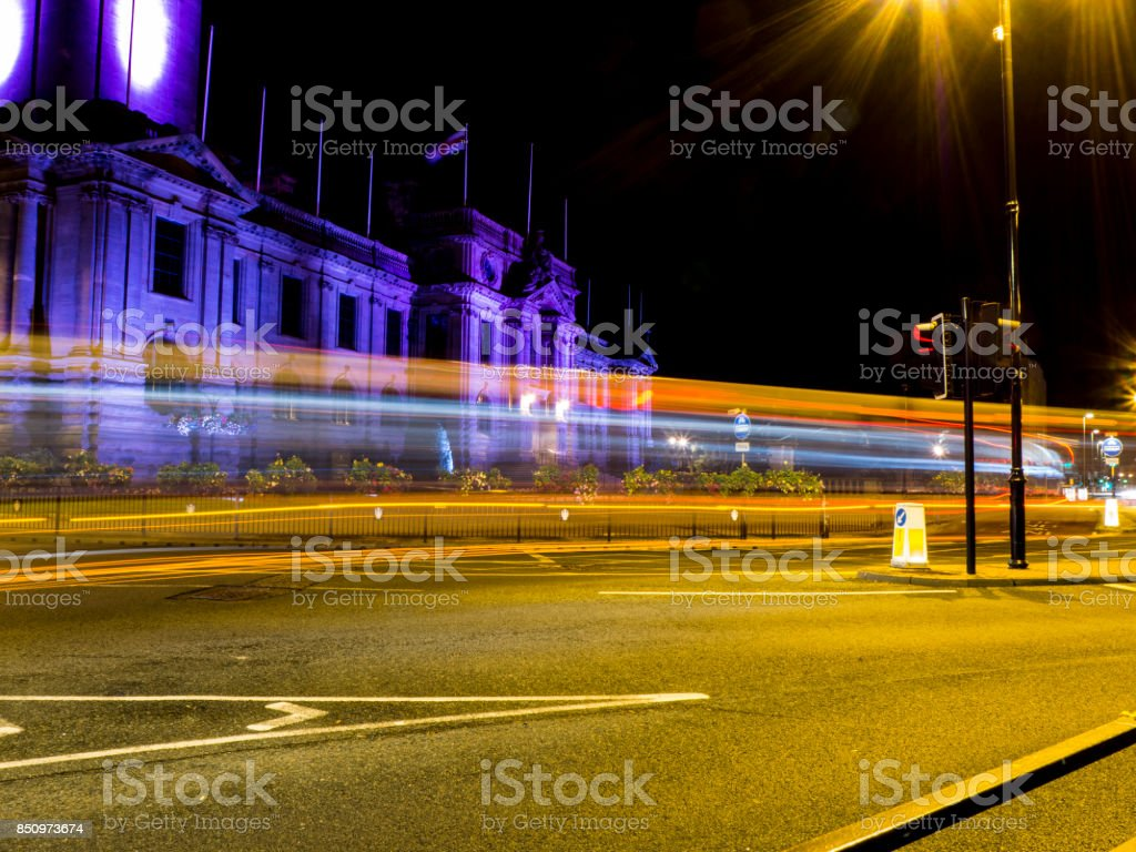 Town Hall Light Trails stock photo