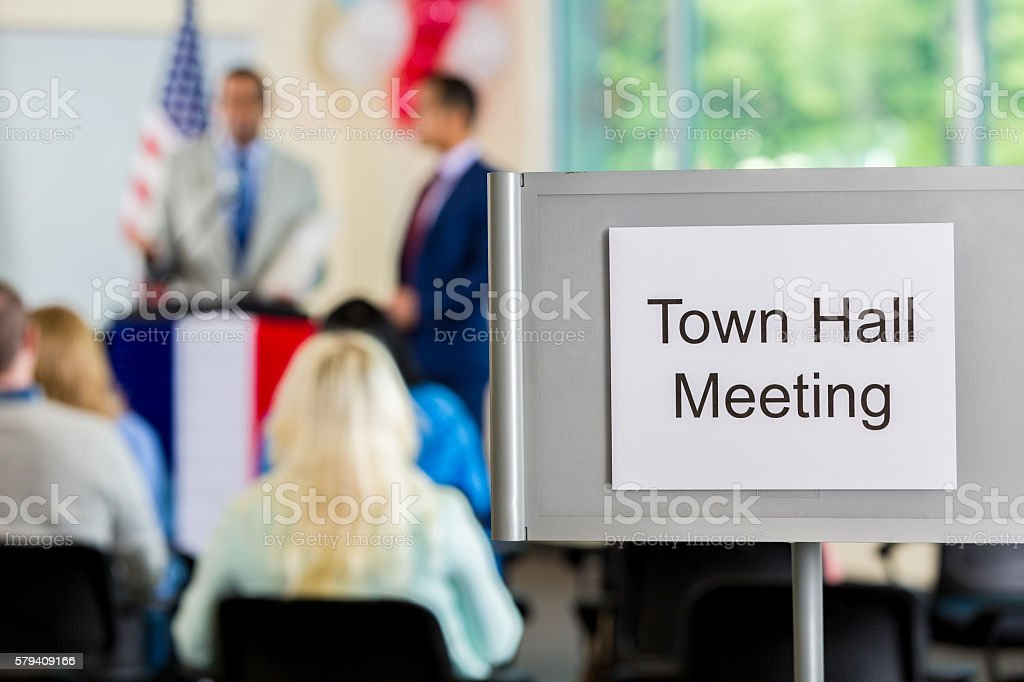 Town Hall Meeting Sign stock photo