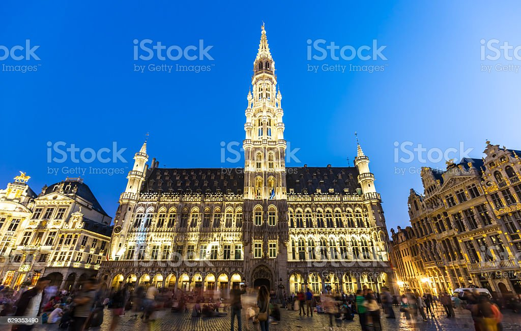 Town Hall of Brussels on the Grand Place stock photo