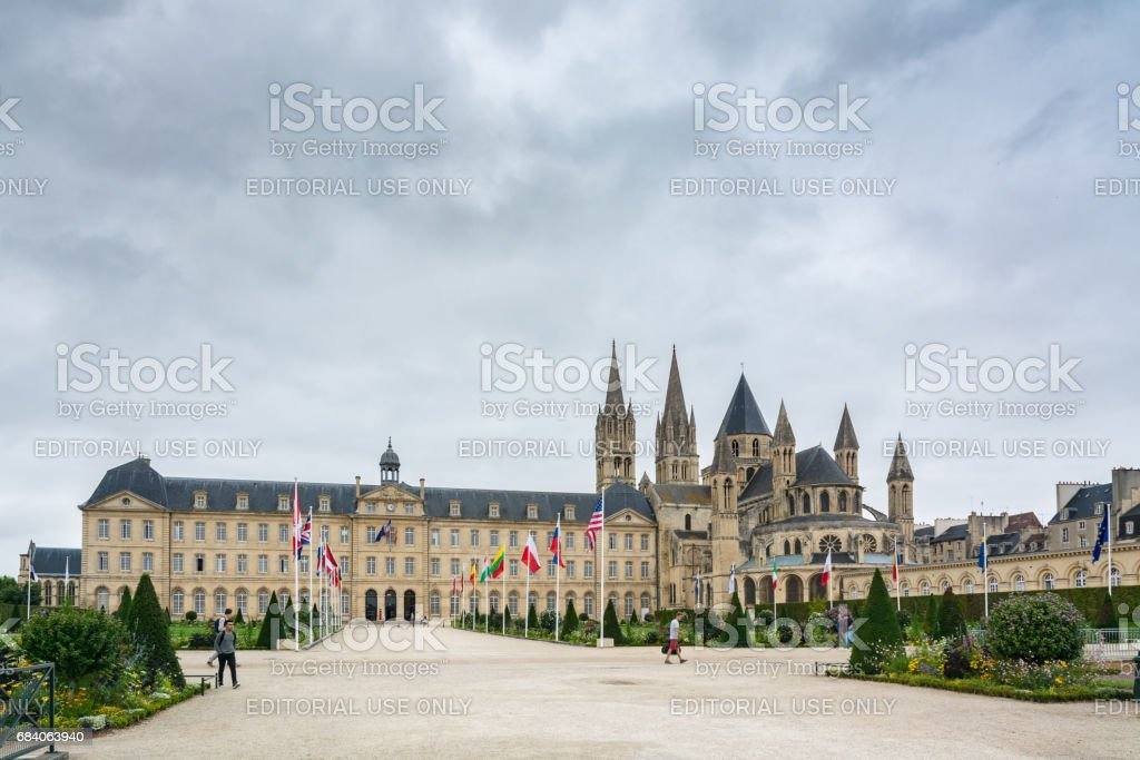 Town Hall of Caen and Abbey of Saint-Etienne stock photo