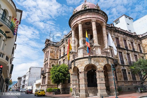 Cuenca, Ecuador - March 3, 2019: Beautiful building of Town hall of Cuenca city on sunny day