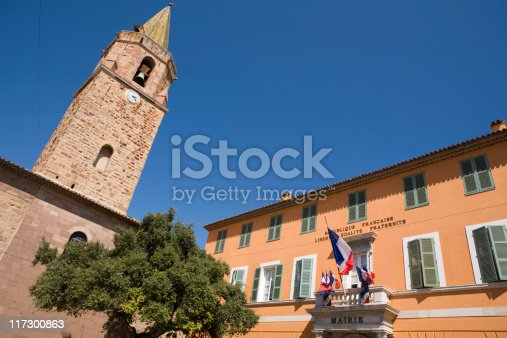 town hall of Fréjus with the clock tower of the cathedral on the left; Fréjus, France